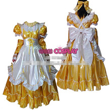 Hot Sale Custom Made Princess Japanese Maid Outfit Gothic PVC Dress Cosplay Party Set  Apron Costume