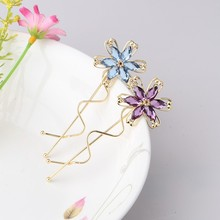 1PC New Wave Pattern Flower Rhinestones Hair Pin Spring Barrette Hairpins Wave Crooked Hair Clip Hair Accessories(China)