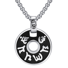 Men Fashion Accessories Charm The six syllable Mantra Pendants Necklaces New Designing Stainless Steel Jewelry 2 Colors(China)