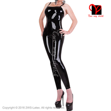 Buy Sexy Latex Sleeveless Catsuit belts top Rubber bodysuit Jumpsuit overall zentai body Lingerie bustier Jumpsuit LT-111