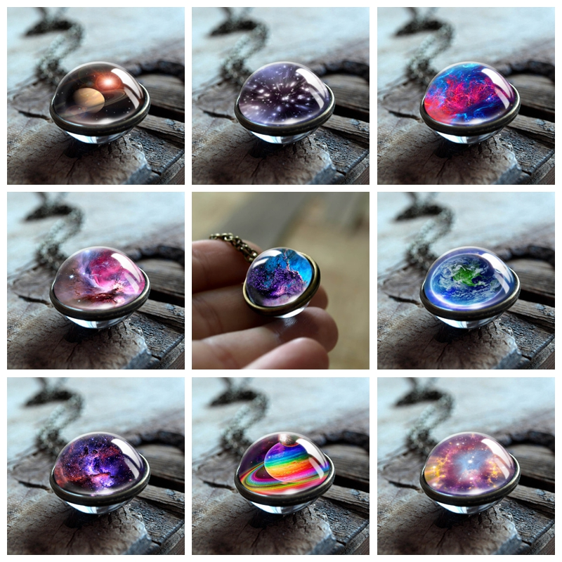 2018 New Nebula Galaxy Double Sided Pendant Necklace Universe Planet Jewelry Glass Art Picture Handmade Statement Necklace(China)