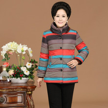 2018 autumn and winter New Year middle-aged mother with striped color cotton XL middle-aged ladies collar warm cotton(China)