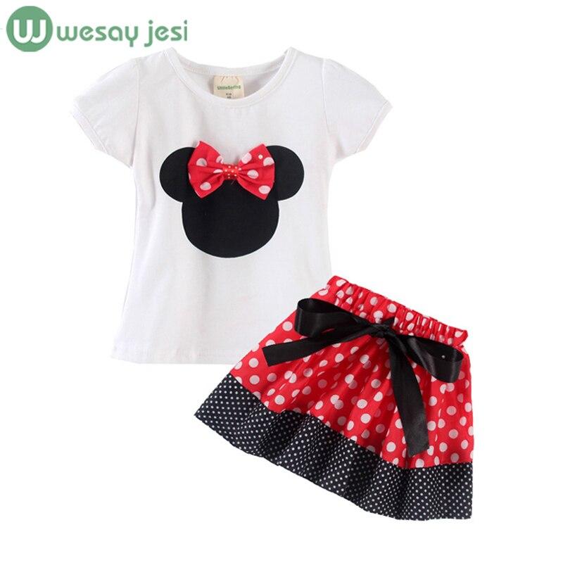 2015 Summer New Children Girls 2PC Sets Skirt Suit cartoon cat baby Clothing sets dots skirt dots pants girls clothes hot sale<br><br>Aliexpress