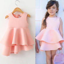 Children Ball Gown Space Cotton Casual Pink Formal Party Girl Dress Kids Baby Girls Flower High Quality Dresses Costume 2016