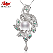 FEIGE Luxury Peacock Big Pendants Real 925 Sterling Silver Necklace for Women 10-11MM White Freshwater Pearl Necklaces Gifts(China)