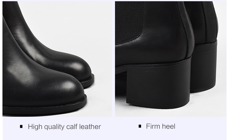 Donna-in genuine calf leather winter boots classic Chelsea boots round toe thick heel natural leather women boots (10)