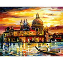 Contemporary art the golden skies of venice knife oil painting canvas beautiful landscape pictures for wall decor(China)