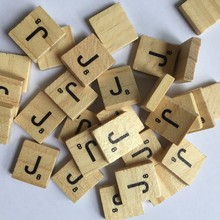 100pcs Alphabet Wooden Puzzle Scrabble Tiles Letters Puzzle Squares Crafts Wood toys For Children