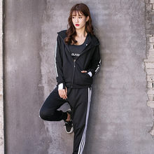 2017 New Tracksuit Women Hoodies 3-Piece Set(Sweatshirt+Long Pants+Bra) Leisure Suits Agasalho Zipper Leisure Suits Russia style(China)