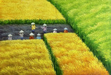 Hand Painted Modern Abstract Vietnam  Harvest Scene Yellow and Green Landscape Oil Painting Canvas Wall Art Home Decoration