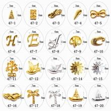 100pcs/bag 2016 New Japan 3D Nail Art Decoration Golden Silver Metal Kawaii Letter,Boat etc Nail Sticker Nail Tools