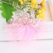 New Design Shiny Rhinestone Cown Hair Clip Girls Hair Accessories Grid Yarn Crown Children Accessories Ribbon Baby Hairpins