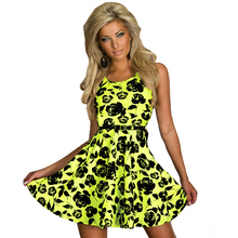 R7788 Sleeveless ball gown women summer skate dress many colors good quality beach dress O-neck recommend fashion print dress