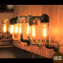 The light source set produced pipe LED industrial loft retro coffee bar personalized creative pipe wall lamp(China)