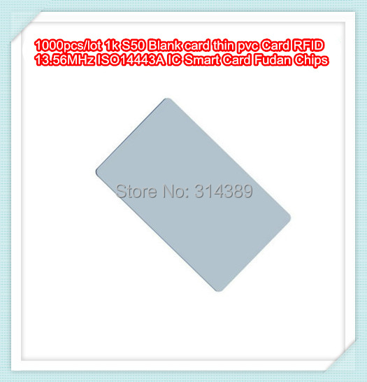 1000pcs/lot  1k S50 Blank card thin pvc Card RFID 13.56MHz ISO14443A IC Smart Card Fudan Chips Waterproof<br><br>Aliexpress