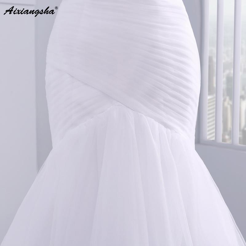 Hot sale floor length pleat cheap wedding dresses tulle robe de mariage Elegant Mermaid wedding dress 2017 6