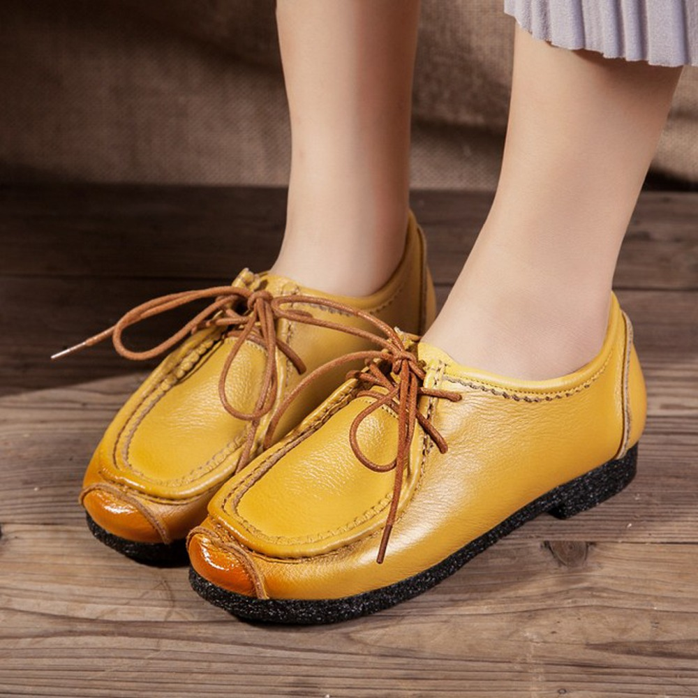 2017 Handmade Sewing Cow Genuine Leather For Women Retro National Casual Female Lady Round Toe Flats Rubber Shoes Woman<br>