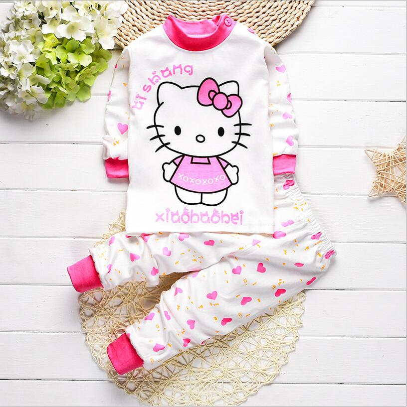2016 new autumn winter baby girl clothes 2pcs Cute hello kitty baby boy clothes set cotton newborn Comfortable underwear(China (Mainland))