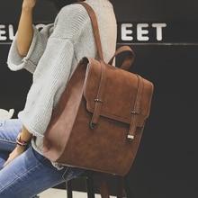 Brand Women Backpacks Solid Mochila Feminina Vintage School Bags Teenagers Girls Bagpack Black PU Leather Women Backpack