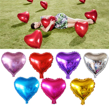 10pcs/lot 10inch pure color balloons love red Heart balloon aluminum foil ballons for wedding love decoration globos(China)