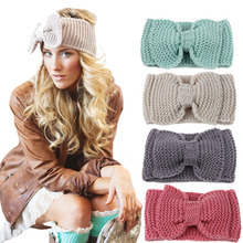 Norvin Fashion Women Big Bow Headband Elastic Turban Knitti Wool Headband Ethnic Wide Stretch Girl Hair Accessories Winter 2016