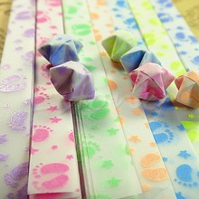 Glow in Dark Lucky Star Origami Folding Plastic Strip Paper Little Feet Design(China)