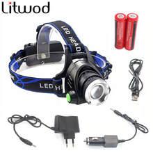 Litwod Z30568D LED Headlamp Headlight Head Flashlight Aluminum 5000lm T6/L2 zoom adjustable Head Lamp 18650 Battery Front Light(China)