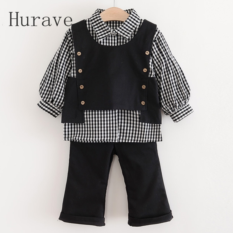 Hurave Baby Girls Clothes 2017 Autumn Baby Clothing Sets turn-down Striped Shirt+ Button Vest + Pant 3Pcs Clothing Sets C18L2<br>
