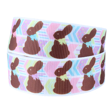 Happy Easter brown rabbit printed grosgrain ribbon for decoration DIY(China)