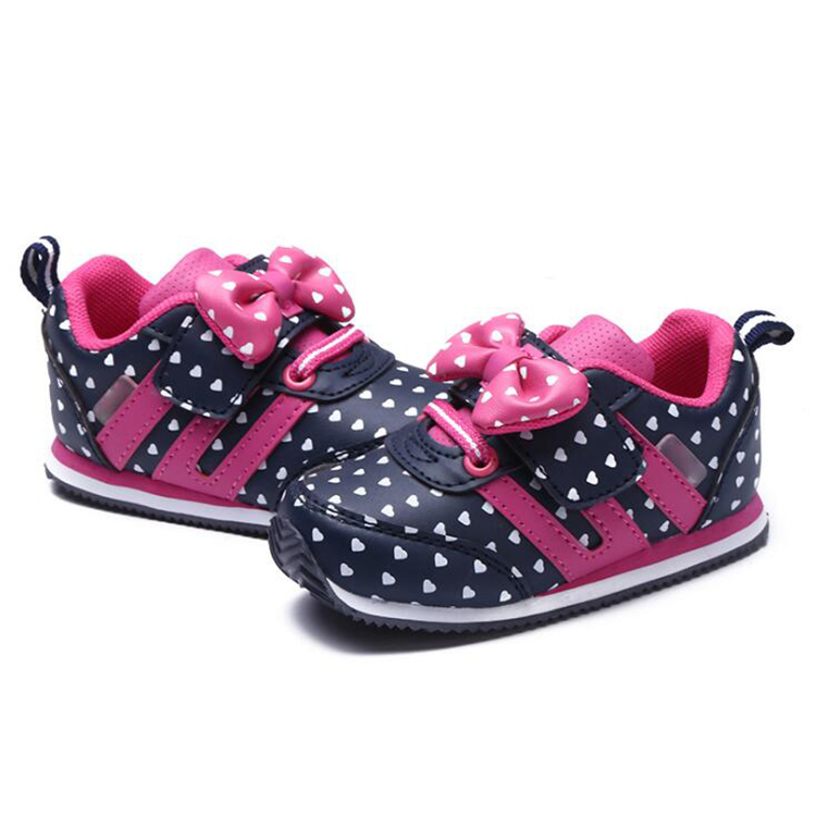 17 Autumn girl running sports shoes heart print black pink bowknot baby girls shoes Children casual Sneaker kid soft gym shoes 6