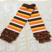 Holiday Gift ,Yellow orange white brown striped leg warmer ,Knit Ruffle Baby Girls Leg warmer ,Spring Arm Warmer for kids(China)