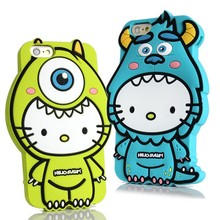 For Apple iphone 6 6s Soft Silicone Case 3D Cute Cartoon Monsters Mr.Q Hello Kitty Covers Cell Phone Cases Winnie phone bag case(China)