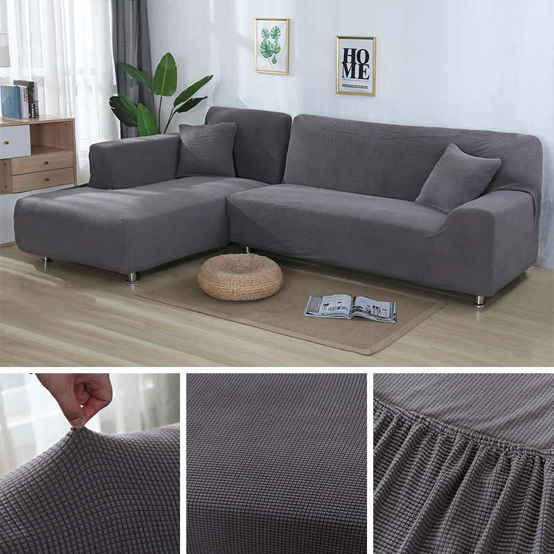 2 pieces Covers for L Shape Sofa Jacquard Stretch Elastic Corner Sofa Cover  Living Room Chaise Lounge Couch Covers Sectional
