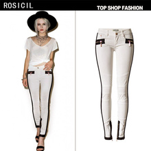 ROSICIL The popular Couture Ivory waisted Arman spell leather decorative chain mesh embroidered women jeans TPS6636#