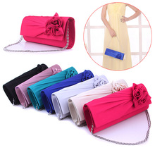 Fashion Women Evening Party Clutch Bag Purse Wallet Satin Prom Wedding Handbag with Chain LBY2017