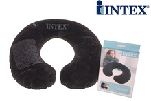 Hot sales clasical black color Intex inflatable travel pillow neck pillow U-shape 68765, hight quaity flocked material