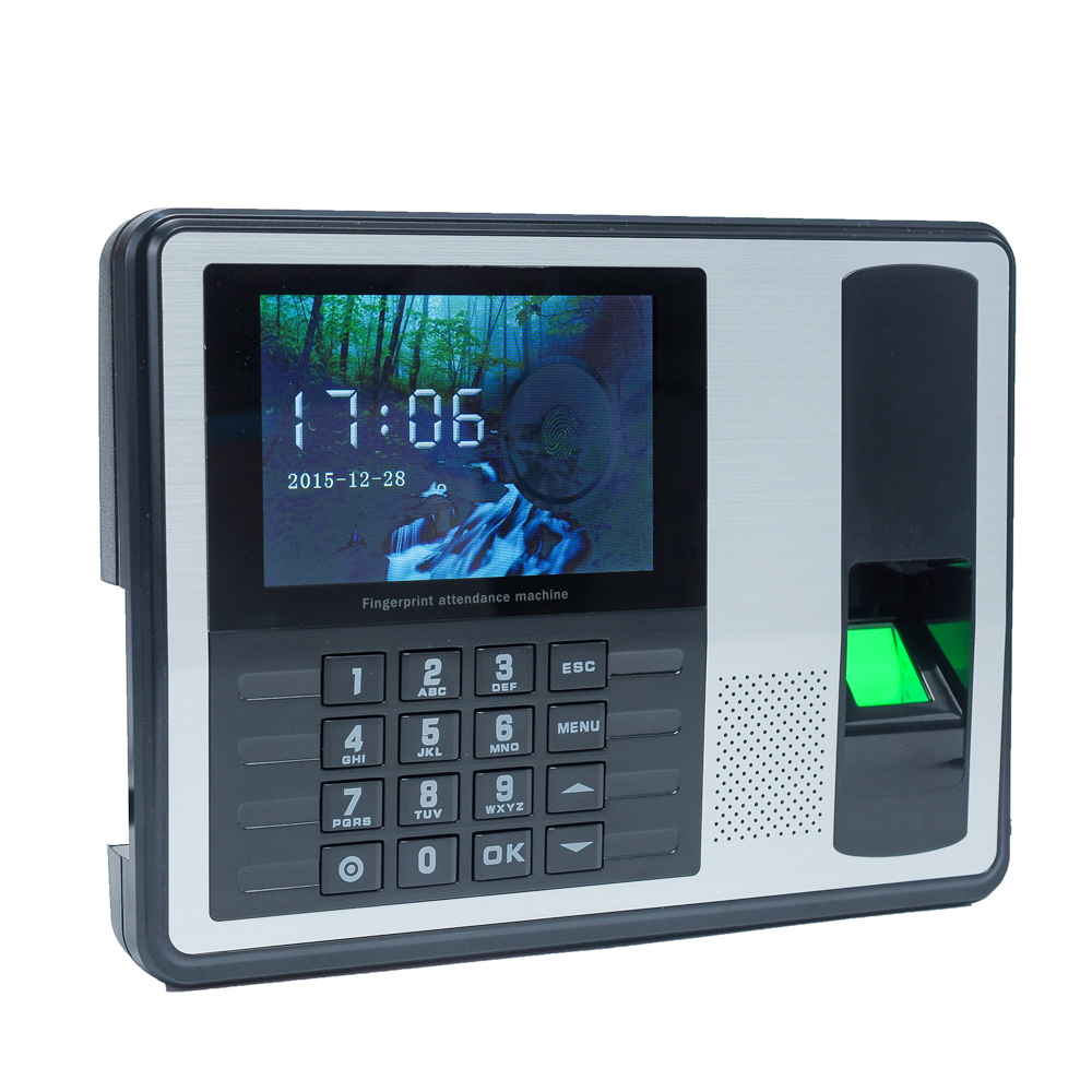 "Biometric Fingerprint Password Attendance Machine Employee Checking-in Recorder 4"" in TFT LCD Screen DC 5V Time Attendance Clock"