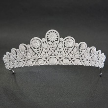 Classic CZ Cubic Zirconia Flower Wedding Bridal Silver Tiara Diadem Crown Women Girl Prom Party Hair Jewelry Accessories S00037(China)