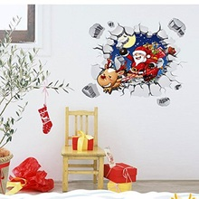 3D Merry Christmas Wall Decals Santa Claus Breaking Into Your House PVC Removable Wall Stickers Nursery Christmas Decoration