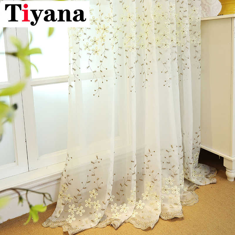 Rustic Leaves Curtains Embroidered Flower Tulle Yarn Curtains For Kichen Balcony Living Room Sheer Curtains  P273D3