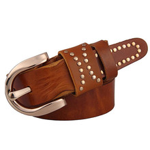 Brand quality Italy imported leather belt fashion retro rivets belt men women first layer of Cowhide leather belt ladies belt