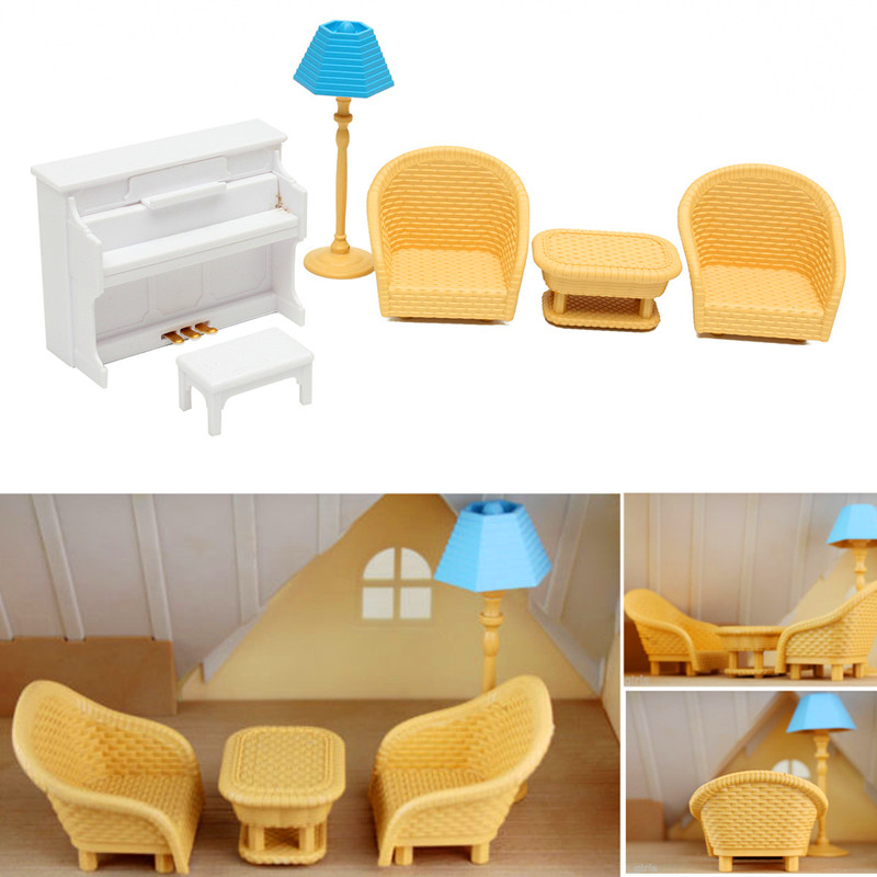 Furniture Toys Dollhouse Sofa Piano Table Miniature Furniture Sets For Sylvanian Family Accessories Kids Gift Toys(China)