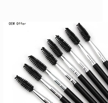 Recommend OEM cosmetic brush black color double end brushes eyebrow brushes