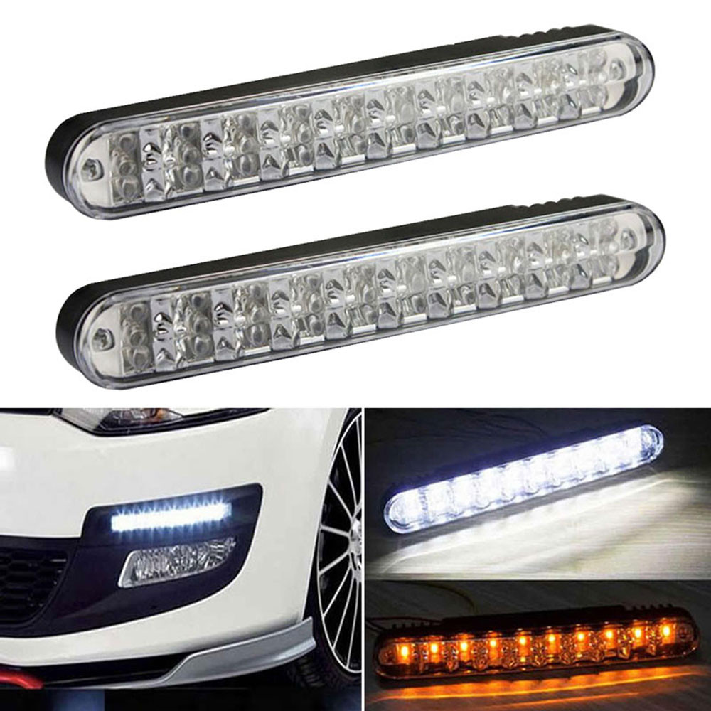 Tiptop NEW 2PCS 2x 30 LED Car Daytime Running Light DRL Daylight Lamp with Turn Lights  Free Shipping L616<br><br>Aliexpress