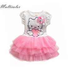 Hello Kitty Girls Dresses Summer 2017 Cartoon Wings Tutu Dress For Girls Kids Princess Dresses Girls Clothes Robe Enfant Cloth(China)