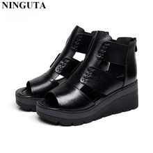 Fashion platform wedges sandals women full grain leather summer shoes woman
