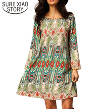 2017 new fashion Western style women chiffon dress nine cents sleeve Bohemia elegant casual loose A word print dress 596F 30
