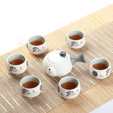 Hot,7 pcs,Beautiful Lotus Flower,Snow glaze ceramic Kungfu tea sets, porcelain tea cups,for Slimming ,cha,tea house use(China)