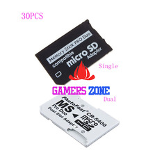 30PCS Micro SD HC to Memory Stick MS Pro Duo Card Dual 2 Slot Adapter for Sony PSP 1000 2000 3000
