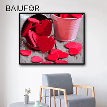 BAIUFOR Frameless DIY Painting by Numbers Digital Oil Paintings Drawing on Canvas Coloring by Numbers Heart Picture LOVE
